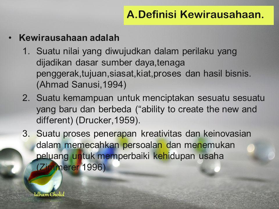 A.Definisi Kewirausahaan.