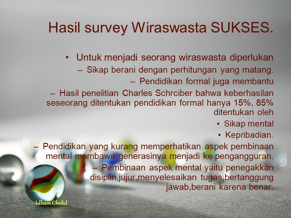 Hasil survey Wiraswasta SUKSES.