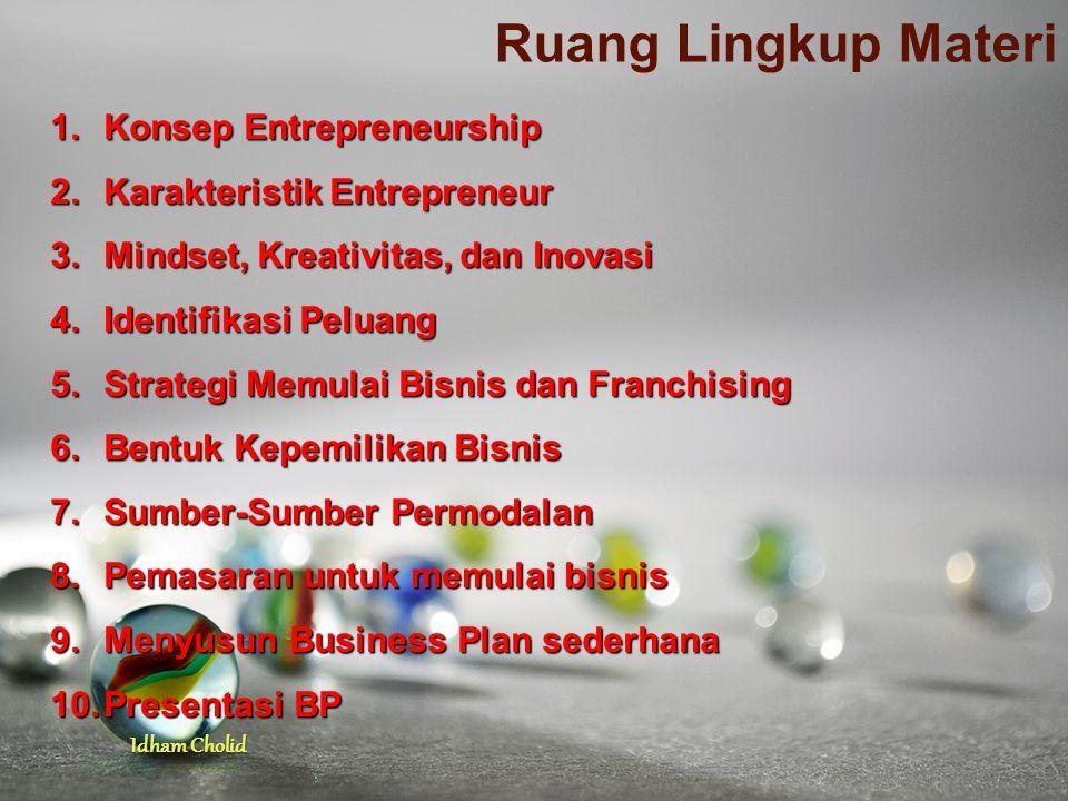 Ruang Lingkup Materi Konsep Entrepreneurship