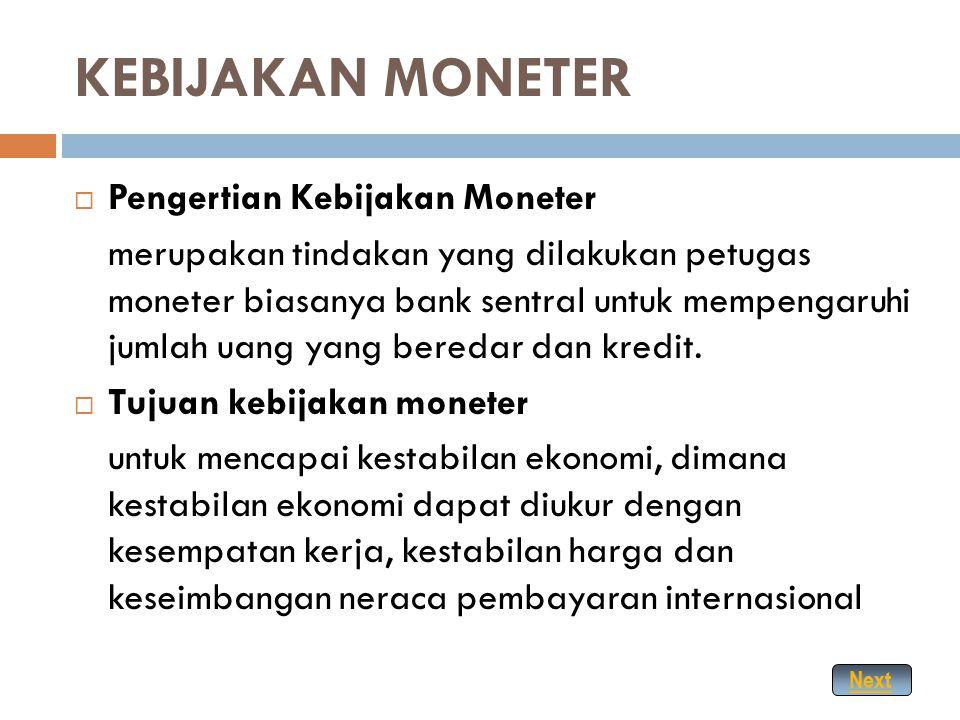 KEBIJAKAN MONETER Pengertian Kebijakan Moneter