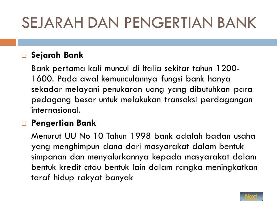 SEJARAH DAN PENGERTIAN BANK