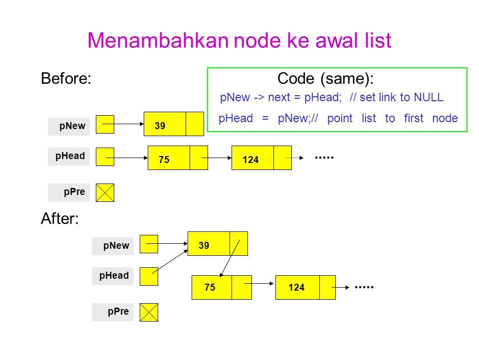 Menambahkan node ke awal list