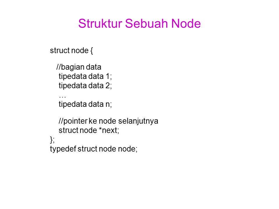 Struktur Sebuah Node struct node { //bagian data tipedata data 1;