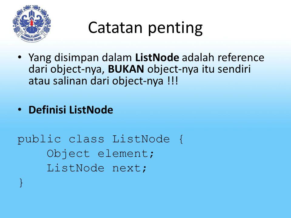 Catatan penting Yang disimpan dalam ListNode adalah reference dari object-nya, BUKAN object-nya itu sendiri atau salinan dari object-nya !!!
