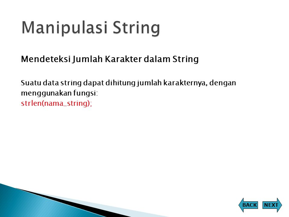 Manipulasi String Mendeteksi Jumlah Karakter dalam String