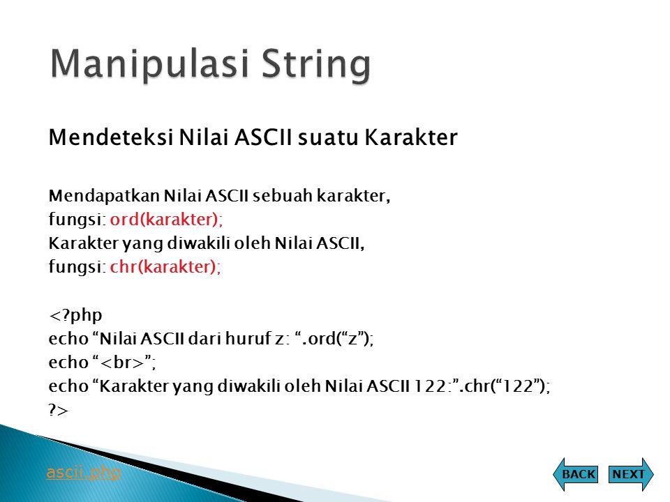 Manipulasi String Mendeteksi Nilai ASCII suatu Karakter