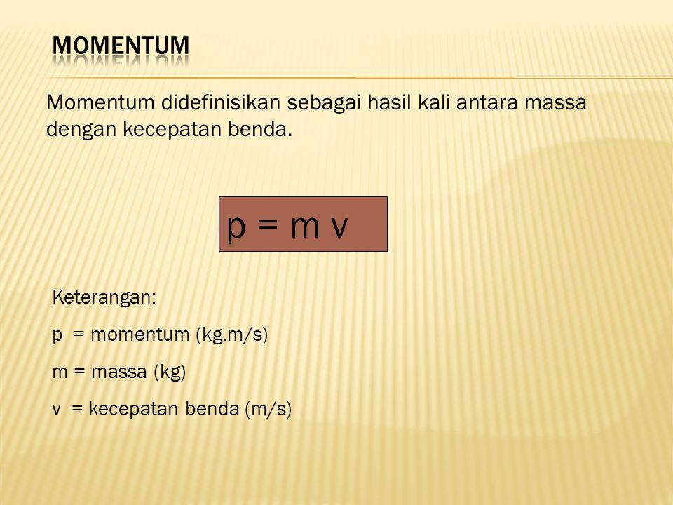 MOMENTUM Momentum didefinisikan sebagai hasil kali antara massa dengan kecepatan benda. p = m v. Keterangan: