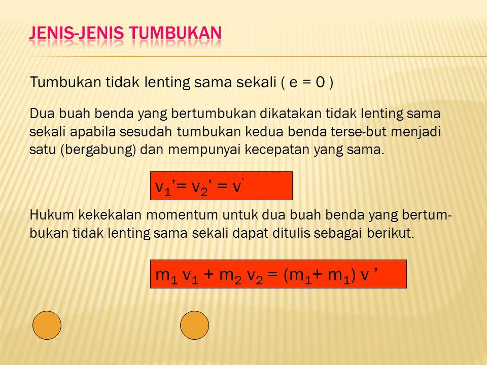 JENIS-JENIS TUMBUKAN v1'= v2' = v' m1 v1 + m2 v2 = (m1+ m1) v '