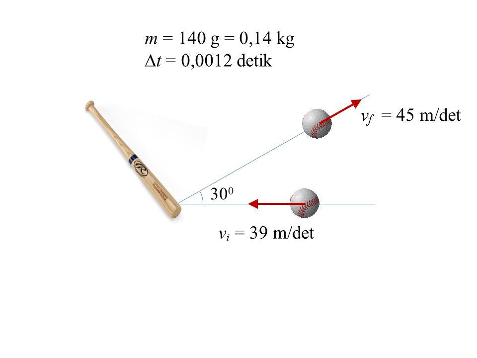 m = 140 g = 0,14 kg t = 0,0012 detik 300 vf = 45 m/det vi = 39 m/det