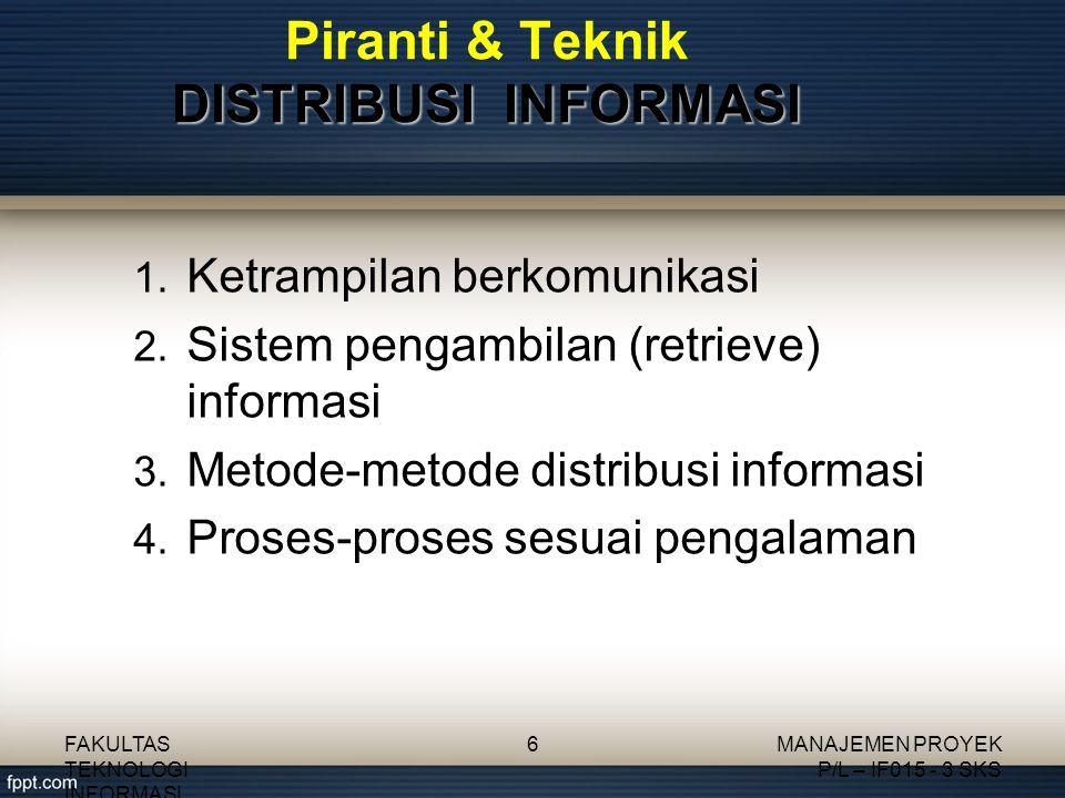 Piranti & Teknik DISTRIBUSI INFORMASI