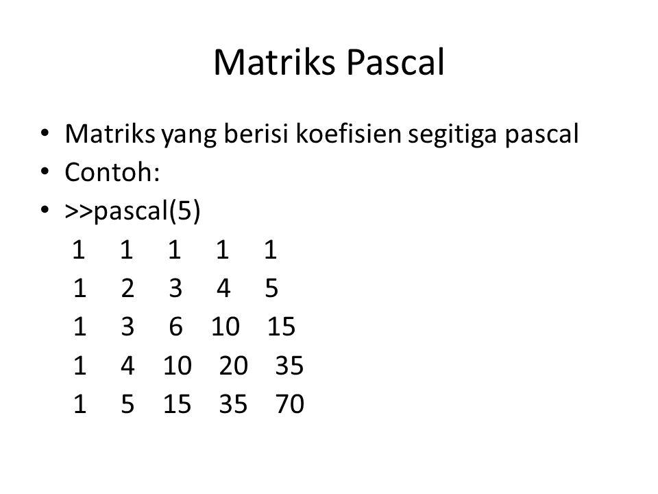 Matriks Pascal Matriks yang berisi koefisien segitiga pascal Contoh: