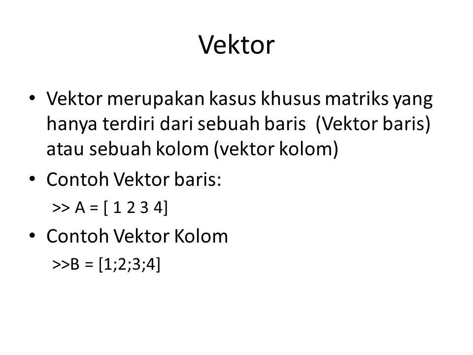 Vektor Vektor merupakan kasus khusus matriks yang hanya terdiri dari sebuah baris (Vektor baris) atau sebuah kolom (vektor kolom)
