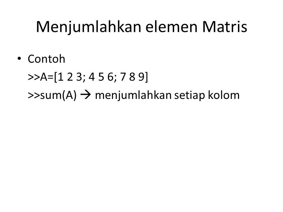 Menjumlahkan elemen Matris