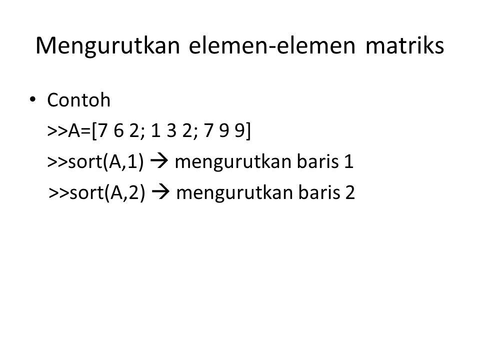 Mengurutkan elemen-elemen matriks