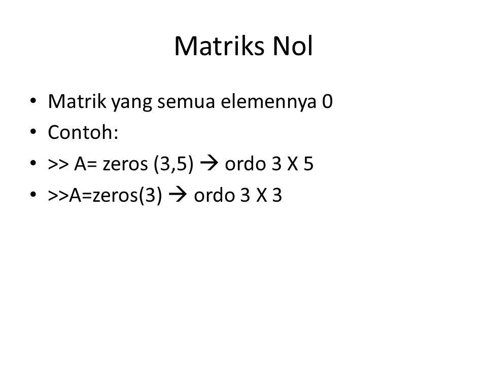 Matriks Nol Matrik yang semua elemennya 0 Contoh: