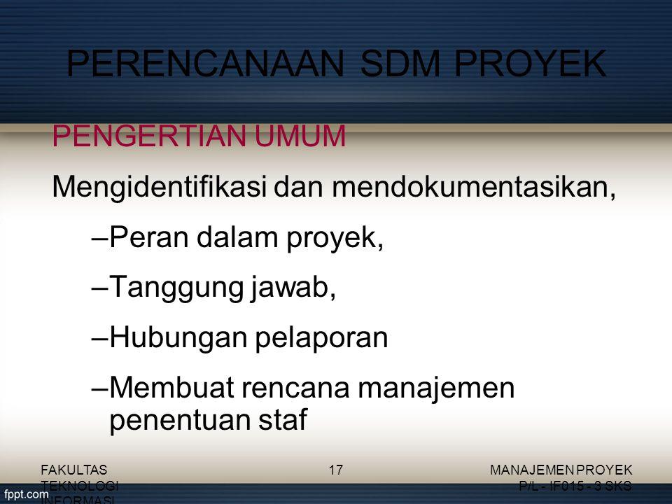 PERENCANAAN SDM PROYEK