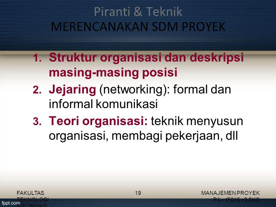 Piranti & Teknik MERENCANAKAN SDM PROYEK