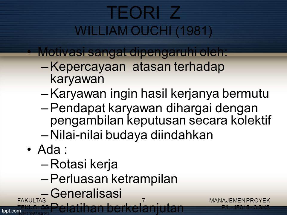 TEORI Z WILLIAM OUCHI (1981)