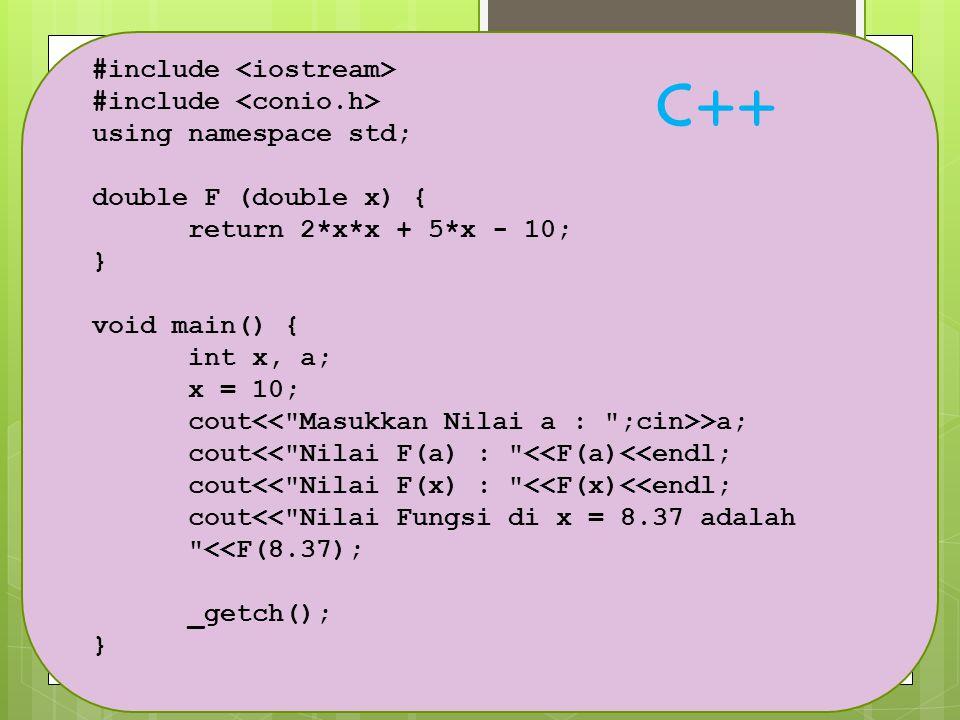 C++ #include <iostream> #include <conio.h>
