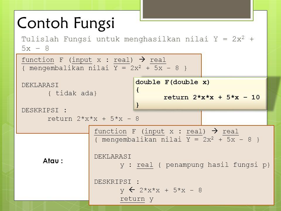 Contoh Fungsi Tulislah Fungsi untuk menghasilkan nilai Y = 2x2 + 5x – 8. function F (input x : real)  real.