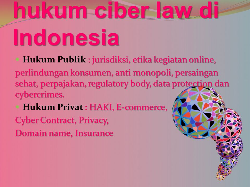 hukum ciber law di Indonesia
