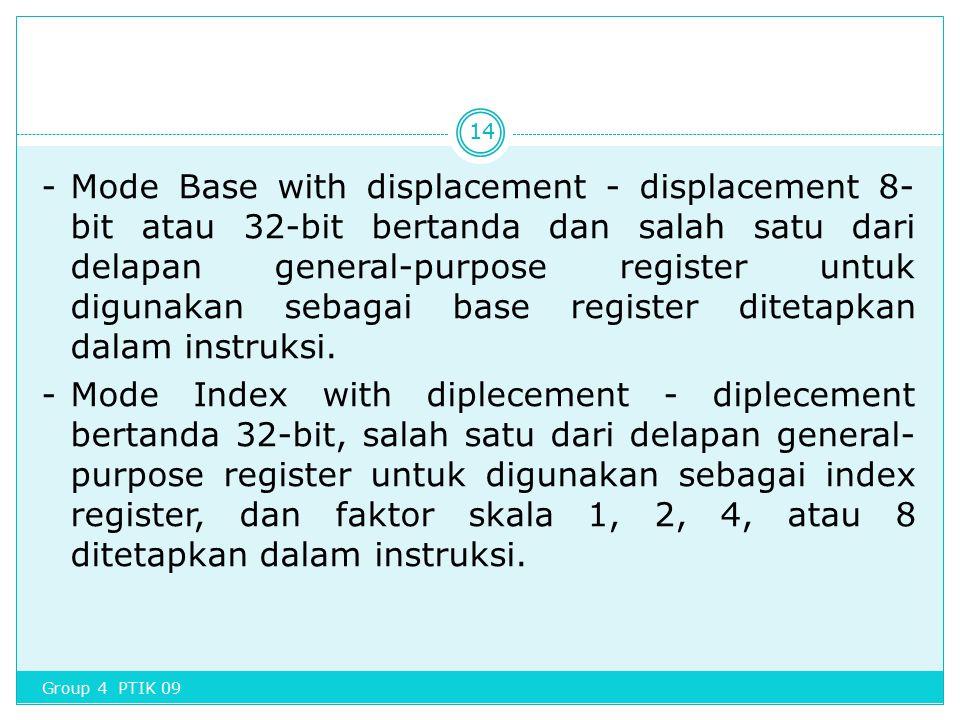 - Mode Base with displacement - displacement 8-bit atau 32-bit bertanda dan salah satu dari delapan general-purpose register untuk digunakan sebagai base register ditetapkan dalam instruksi. - Mode Index with diplecement - diplecement bertanda 32-bit, salah satu dari delapan general-purpose register untuk digunakan sebagai index register, dan faktor skala 1, 2, 4, atau 8 ditetapkan dalam instruksi.