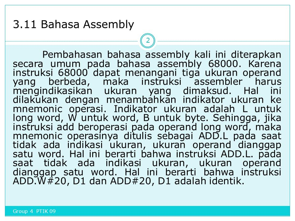 3.11 Bahasa Assembly