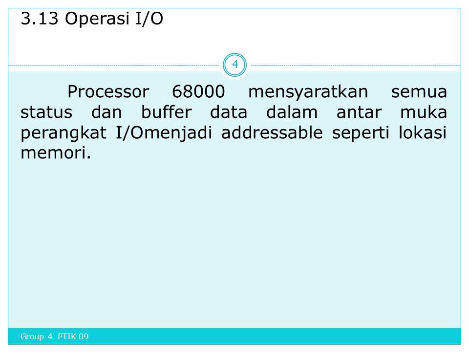 3.13 Operasi I/O Processor 68000 mensyaratkan semua status dan buffer data dalam antar muka perangkat I/Omenjadi addressable seperti lokasi memori.