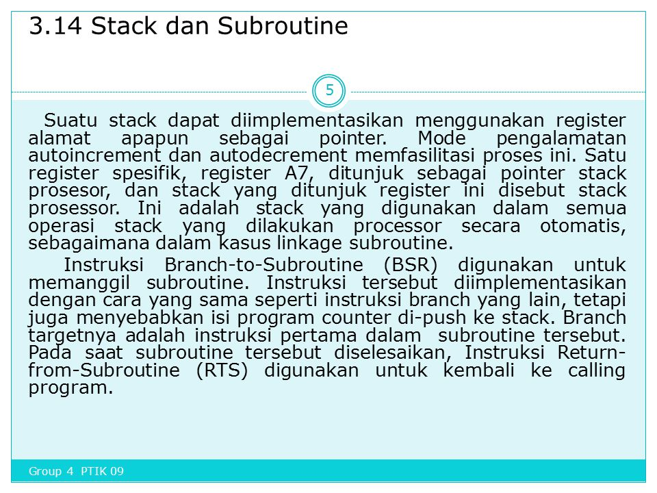 3.14 Stack dan Subroutine
