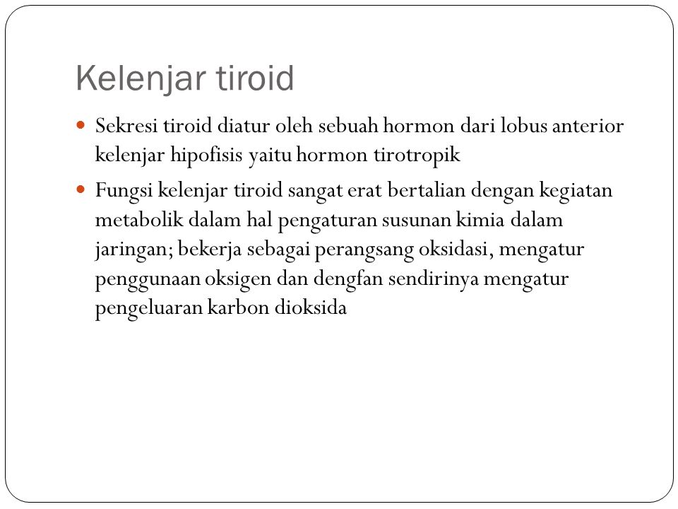 Kelenjar tiroid Sekresi tiroid diatur oleh sebuah hormon dari lobus anterior kelenjar hipofisis yaitu hormon tirotropik.