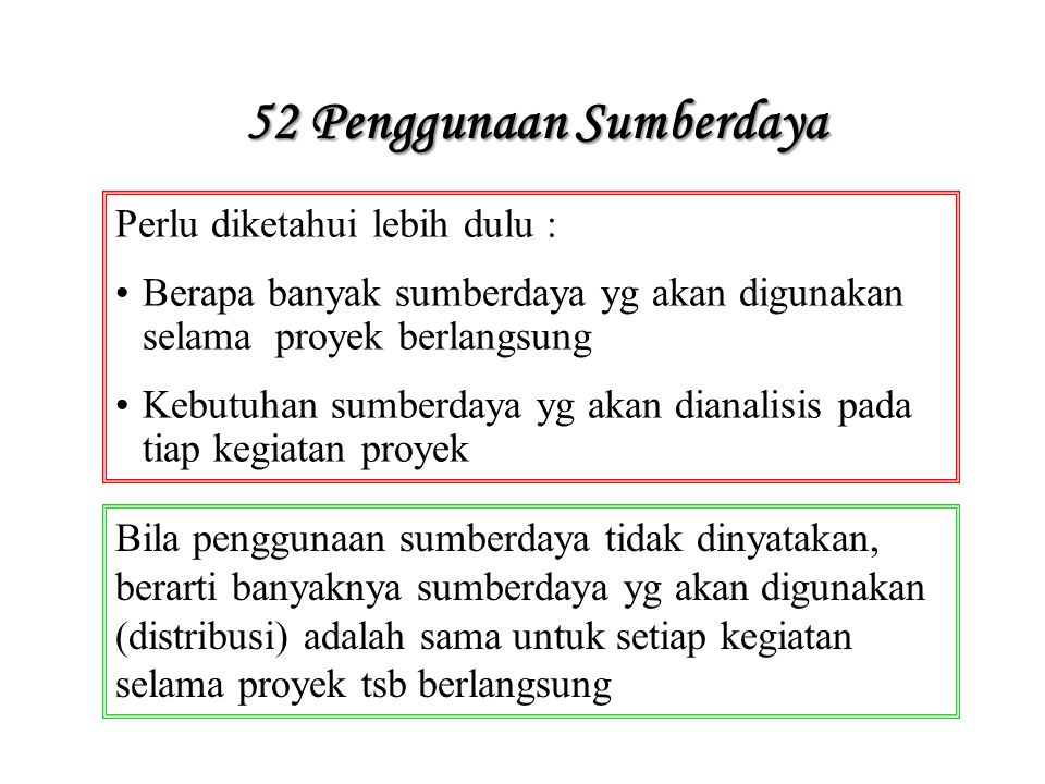 52 Penggunaan Sumberdaya