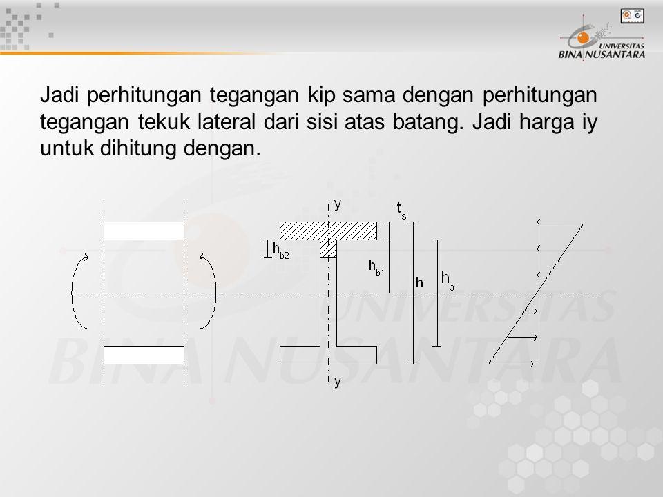 Jadi perhitungan tegangan kip sama dengan perhitungan tegangan tekuk lateral dari sisi atas batang.