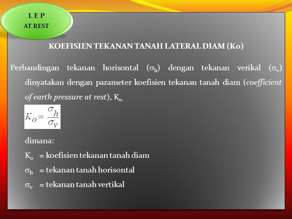 KOEFISIEN TEKANAN TANAH LATERAL DIAM (K0)
