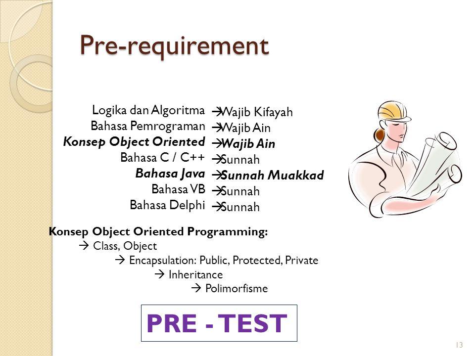 Pre-requirement PRE - TEST Logika dan Algoritma Wajib Kifayah