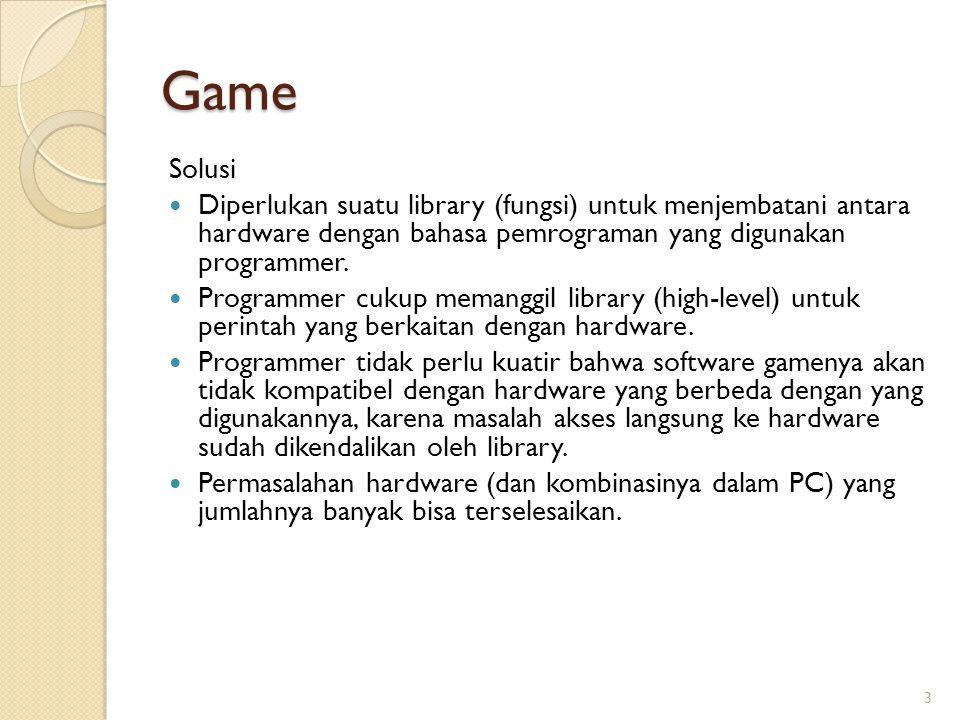 Game Solusi. Diperlukan suatu library (fungsi) untuk menjembatani antara hardware dengan bahasa pemrograman yang digunakan programmer.