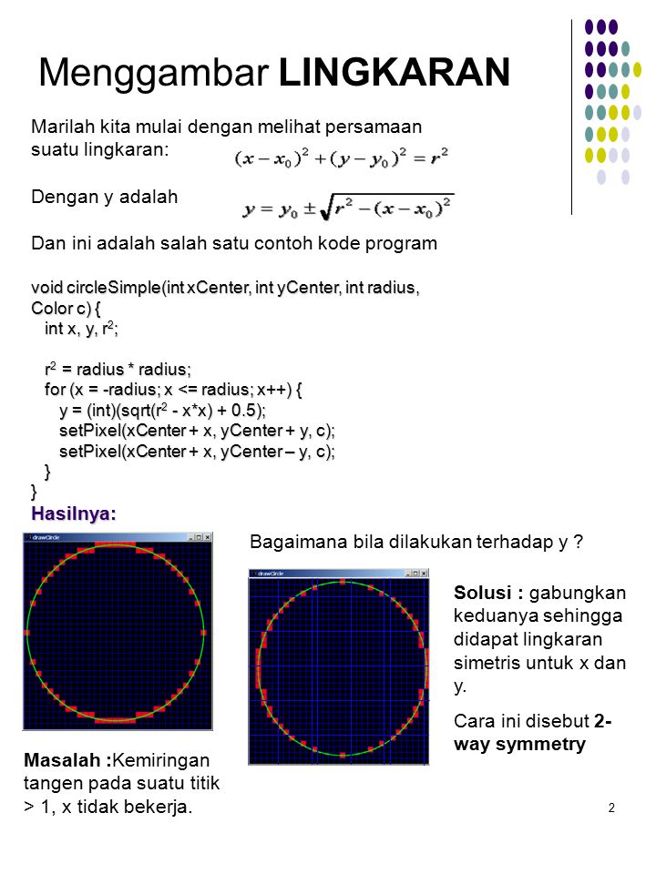 Menggambar LINGKARAN Marilah kita mulai dengan melihat persamaan suatu lingkaran: Dengan y adalah.