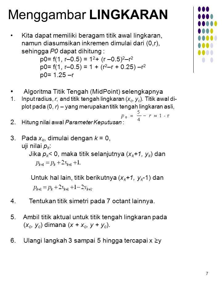 Menggambar LINGKARAN Algoritma Titik Tengah (MidPoint) selengkapnya