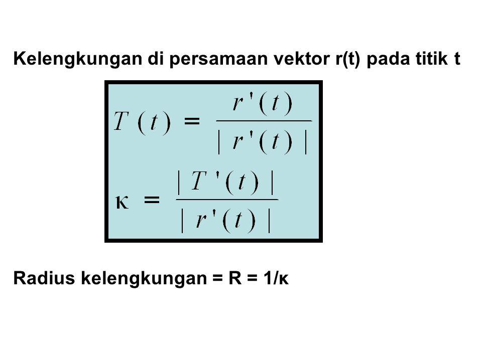 Kelengkungan di persamaan vektor r(t) pada titik t