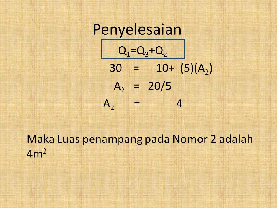 Penyelesaian Q1=Q3+Q2 30 = 10+ (5)(A2) A2 = 20/5 A2 = 4
