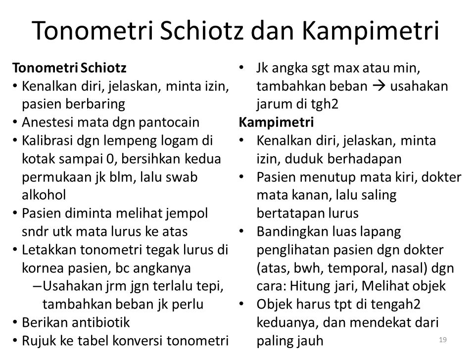 Tonometri Schiotz dan Kampimetri