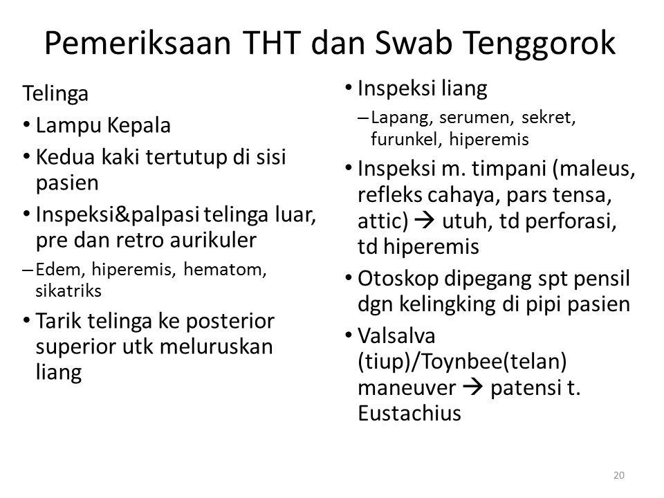 Pemeriksaan THT dan Swab Tenggorok