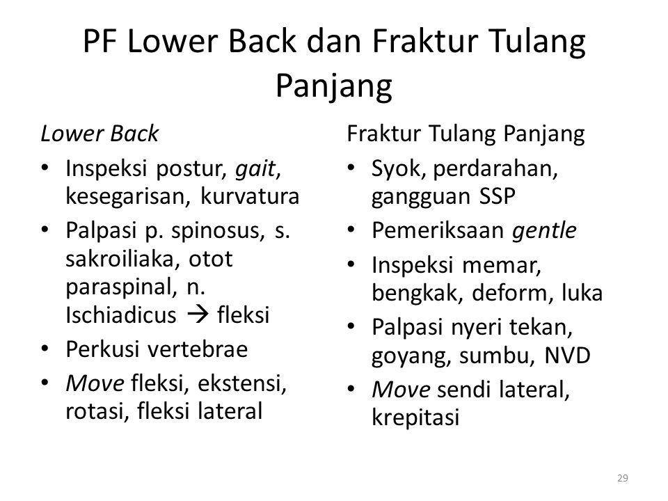 PF Lower Back dan Fraktur Tulang Panjang