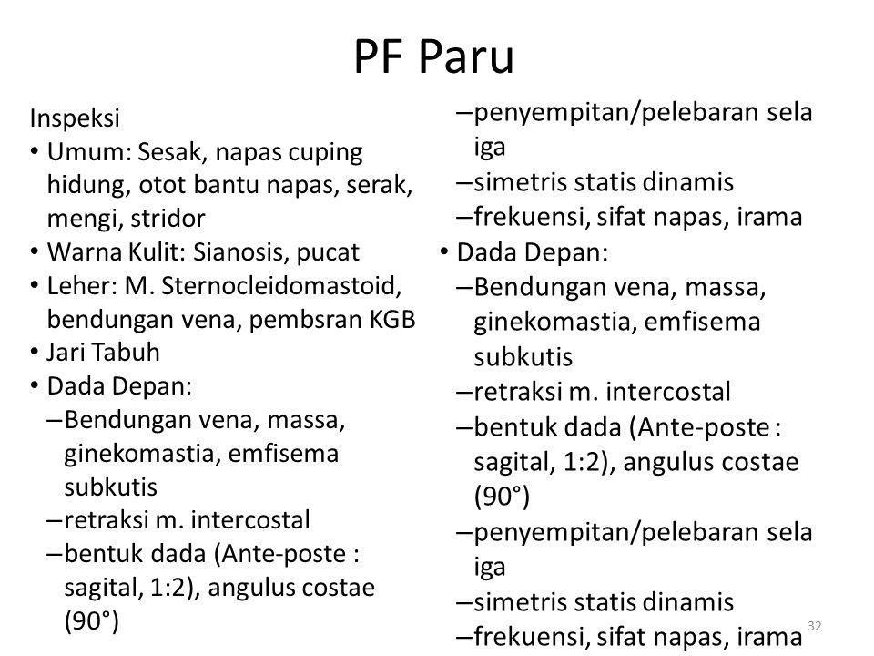 PF Paru penyempitan/pelebaran sela iga simetris statis dinamis