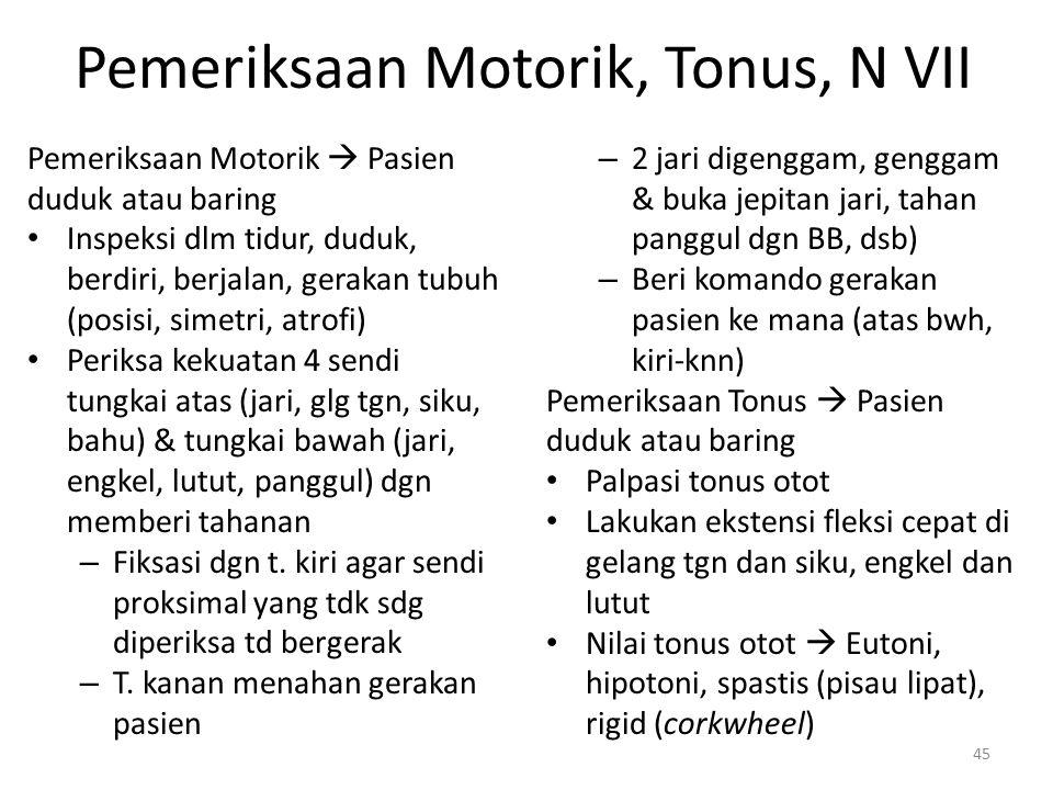 Pemeriksaan Motorik, Tonus, N VII