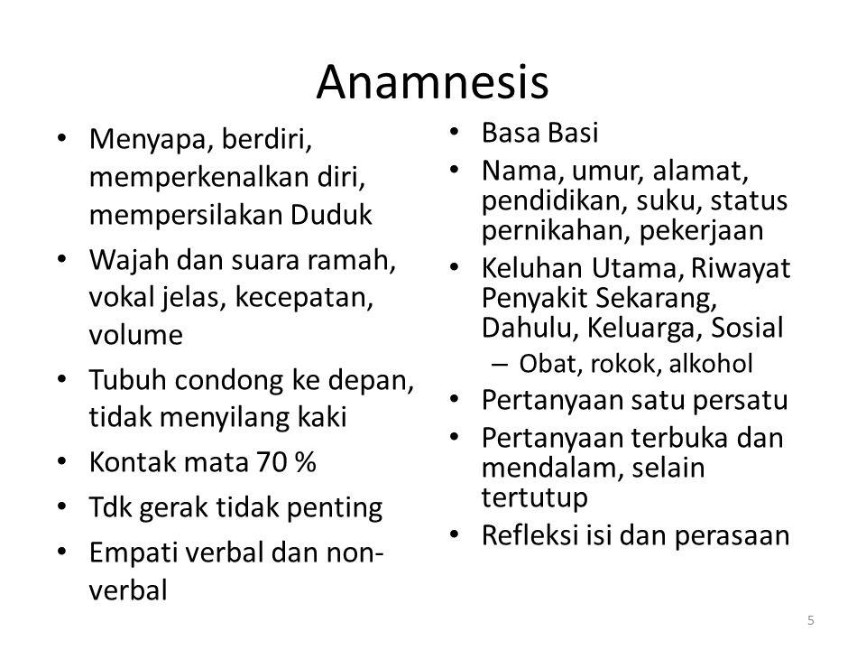 Anamnesis Menyapa, berdiri, memperkenalkan diri, mempersilakan Duduk