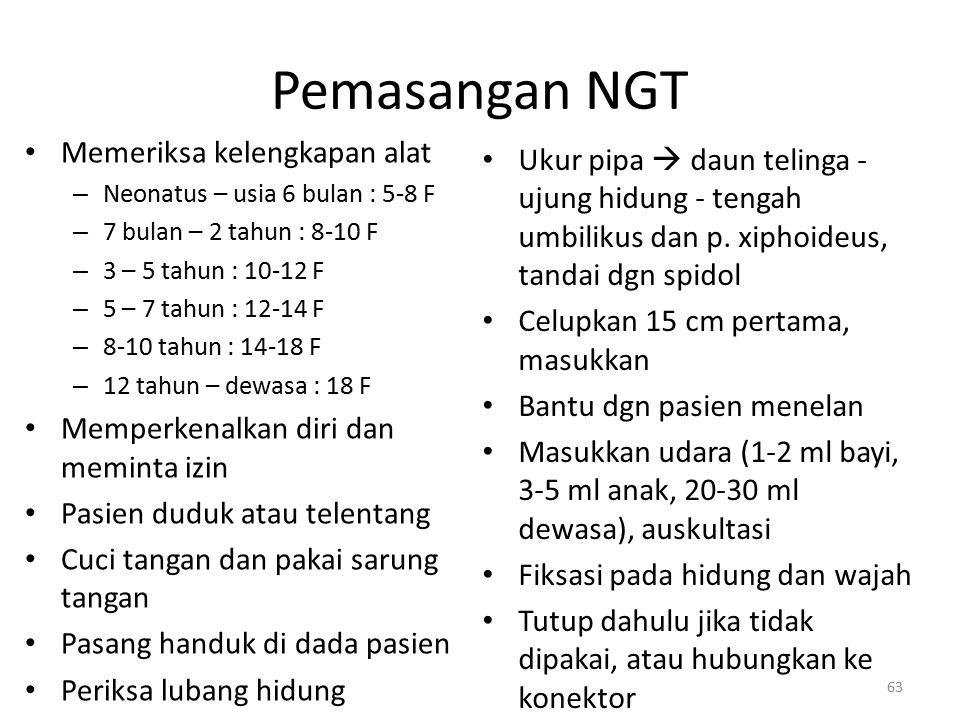 Pemasangan NGT Memeriksa kelengkapan alat