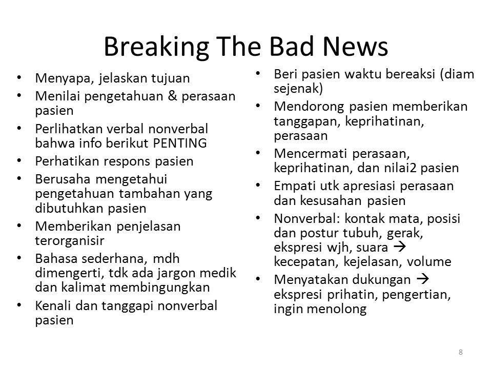 Breaking The Bad News Beri pasien waktu bereaksi (diam sejenak)