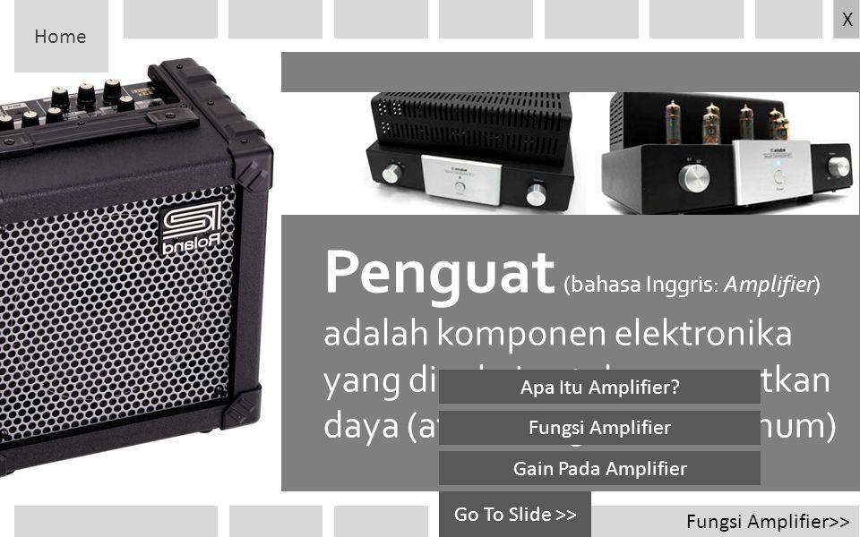 Home X. Penguat (bahasa Inggris: Amplifier) adalah komponen elektronika yang dipakai untuk menguatkan daya (atau tenaga secara umum)