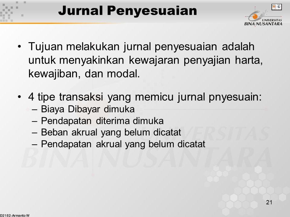 Jurnal Penyesuaian Tujuan melakukan jurnal penyesuaian adalah untuk menyakinkan kewajaran penyajian harta, kewajiban, dan modal.