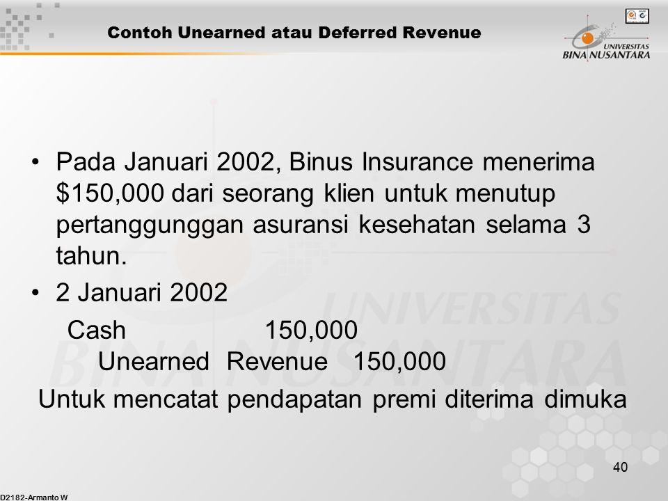 Contoh Unearned atau Deferred Revenue